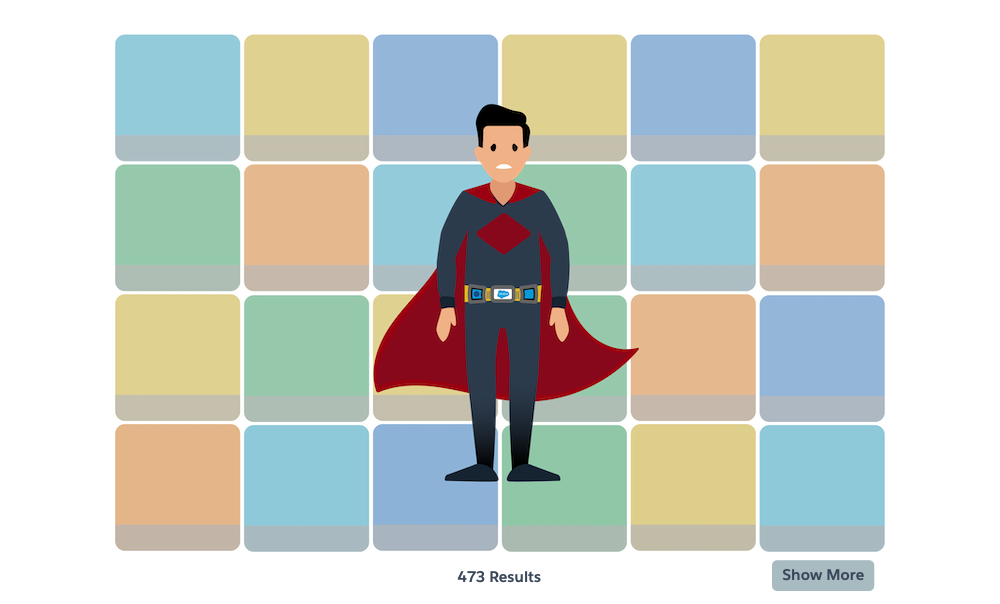 A superhero admin wearing the superhero utility belt, and standing in a pile of listing tiles