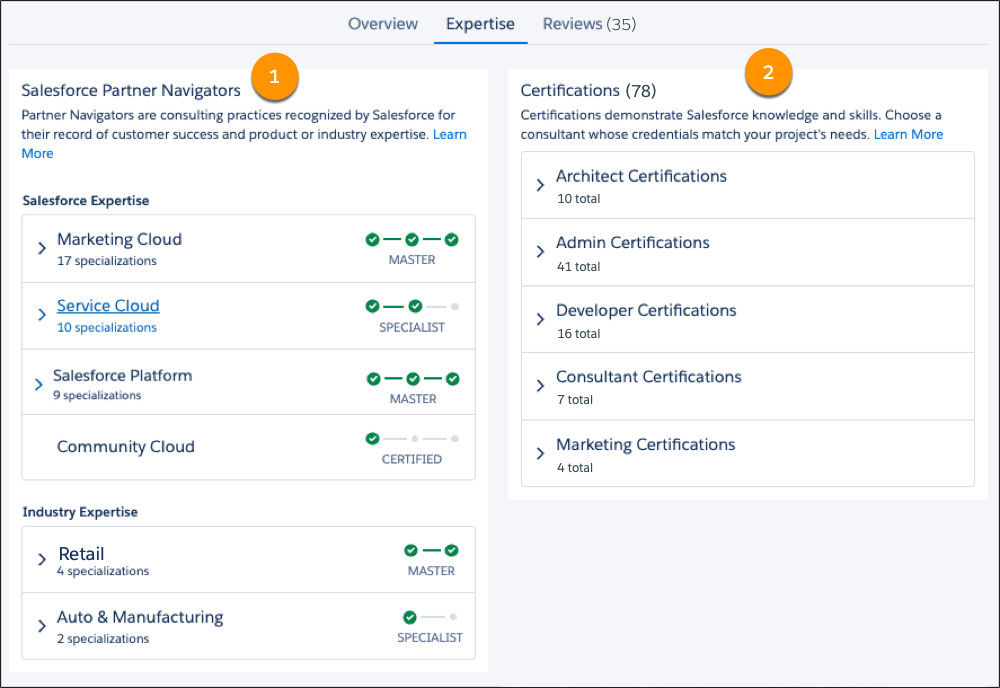 The Expertise tab of the Get Cloudy listing on AppExchange