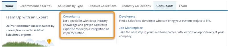 The AppExchange navigation menu with a highlight around the Consultants submenu item