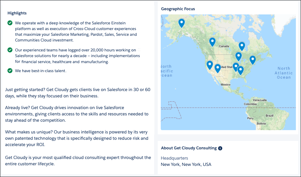 The Highlights, Geographic Focus, and About sections of the Get Cloudy consultant listing on AppExchange