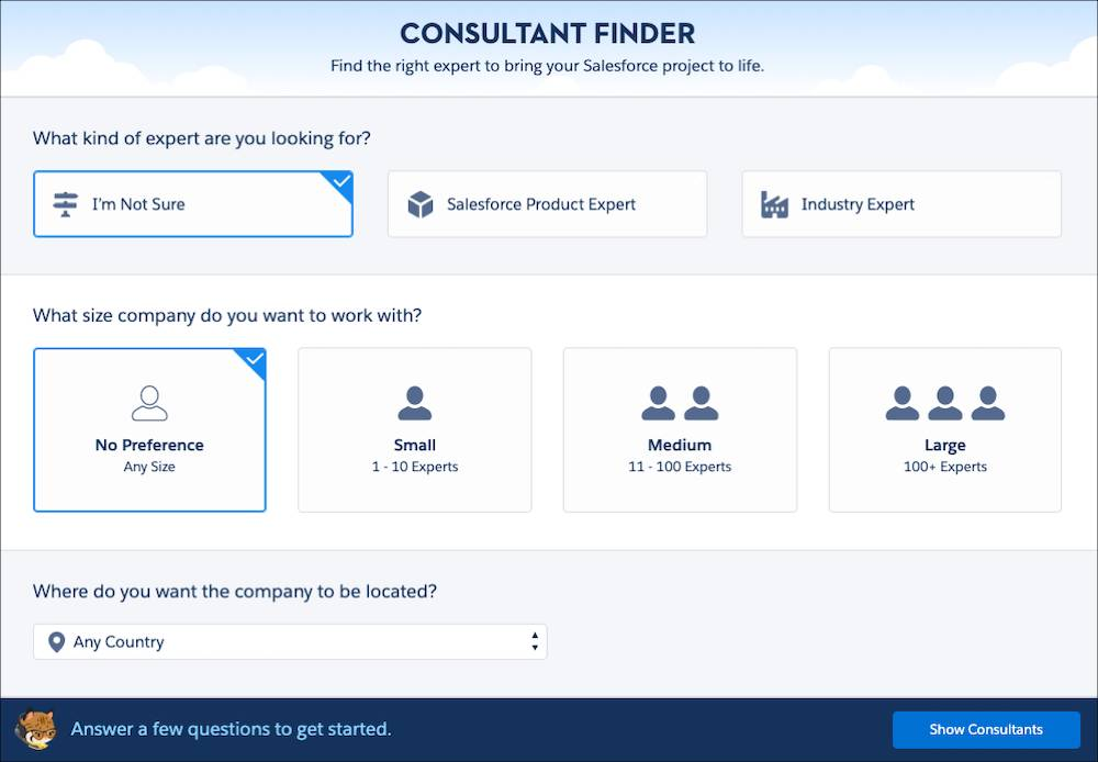 The AppExchange consultant finder wizard