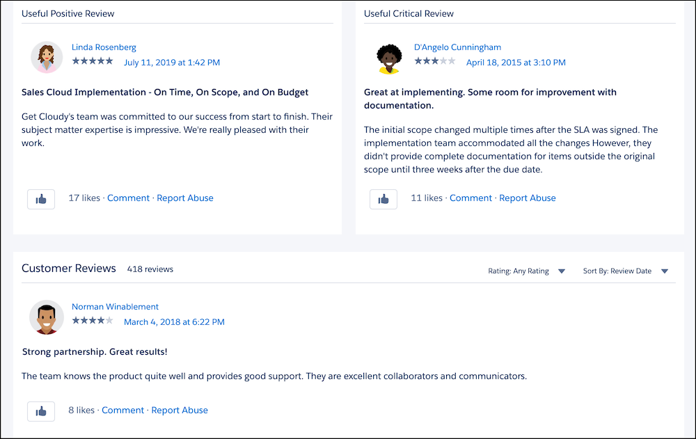 Reviews on the Get Cloudy consultant listing on AppExchange