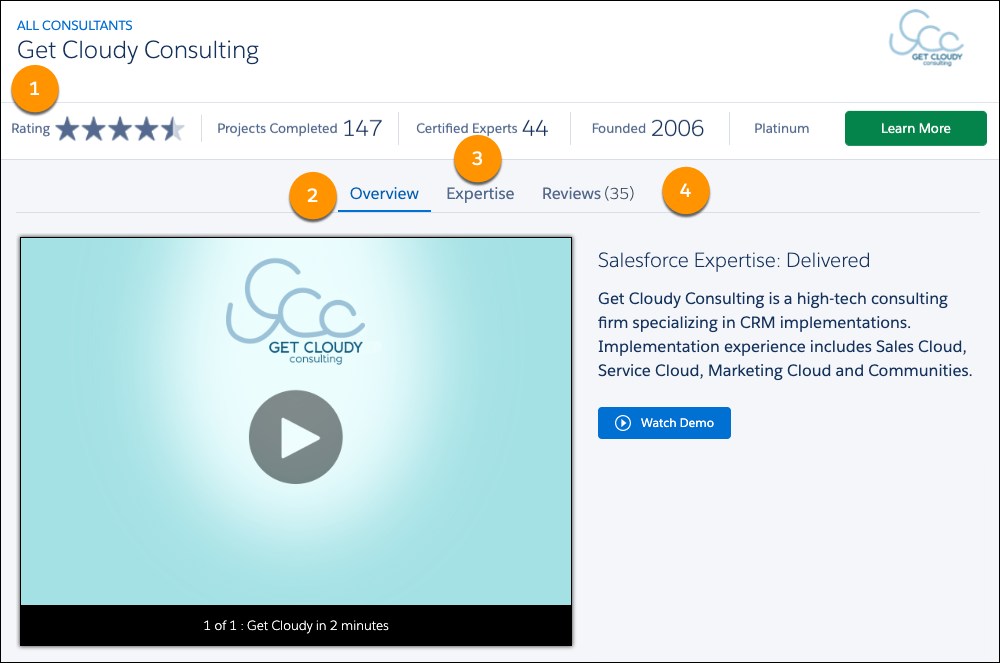 The overview page for Get Cloudy's consultant listing on AppExchange with callouts on the summary bar, and the overview, expertise, and reviews tabs