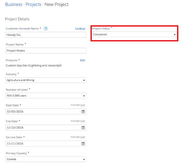 Fill out information about your projects so Salesforce can see what you're up to.