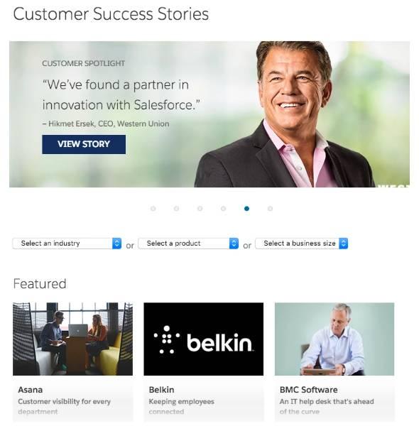 お客様の成功のストーリーを記した Salesforce サイトは、潜在顧客が Salesforce の利点を確認するのに役立ちます。