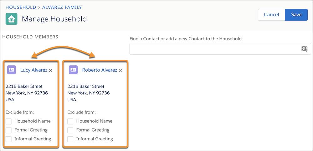 Manage Household editing page, highlighting movable contact cards