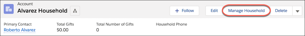 Household account header, highlighting Manage Household button