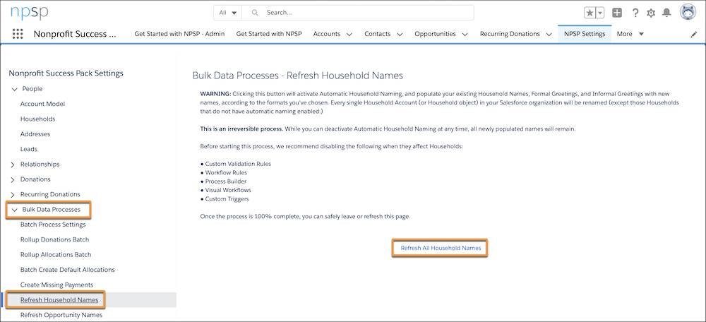 NPSP Settings, highlighting Refresh Household Names