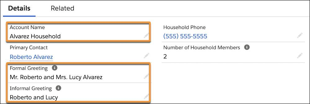 Account Details, highlighting Account Name, Formal Greeting, and Informal Greeting fields