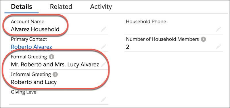 Accountdetails mit den markierten Feldern 'Accountname', 'Formelle Anrede' und 'Informelle Anrede'