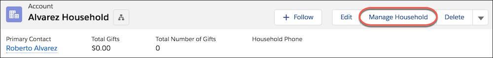 En-tête du compte de foyer, avec le bouton Gérer un foyer mis en évidence