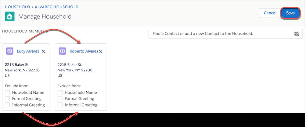 Page de modification Gérer un foyer, avec les fiches de contacts mobiles mises en évidence