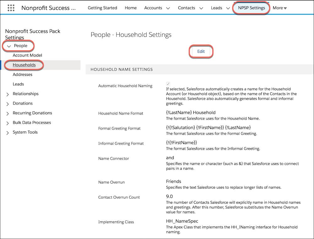 Page Paramètres NPSP, avec le bouton Modifier mis en évidence