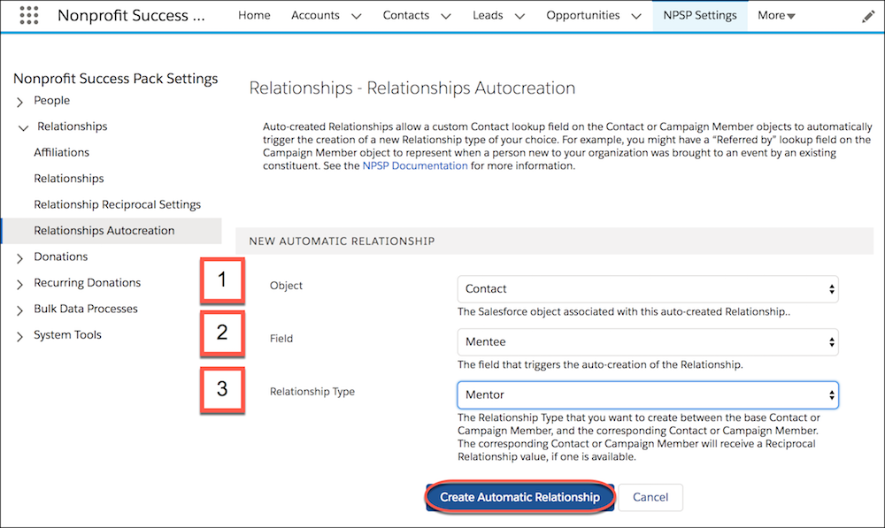 Relationships Autocreation settings and options