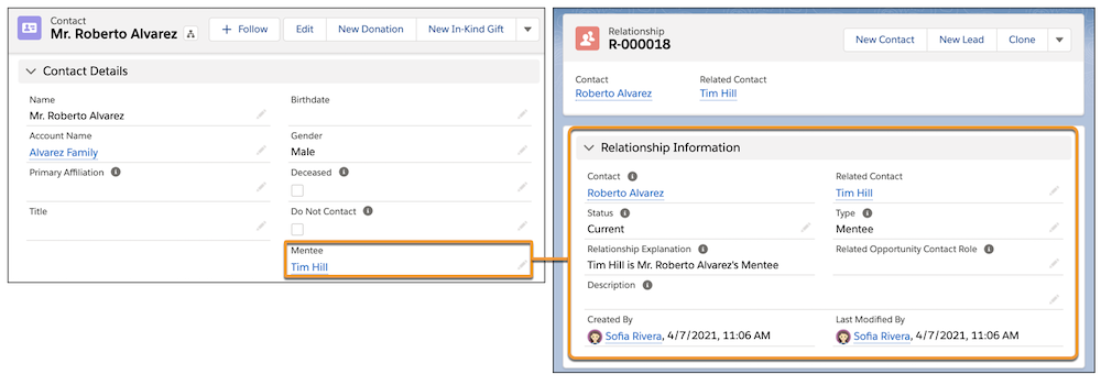 Adding reciprocal relationship directly on the contact record