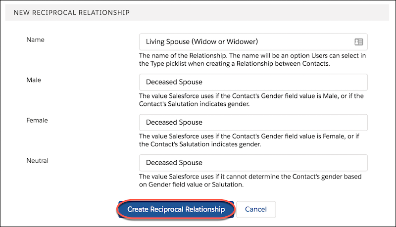Relationship Reciprocal Settings