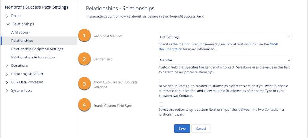 The Relationships setting menu