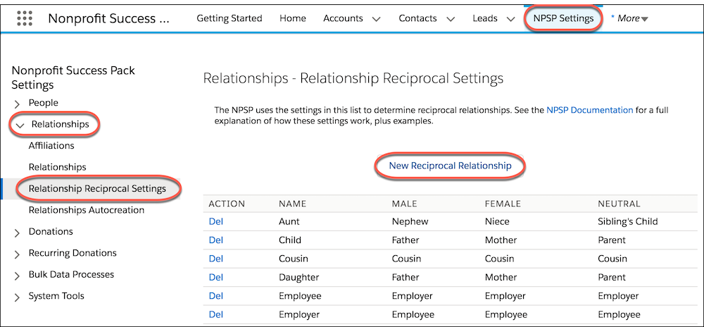 Relationship Settings page
