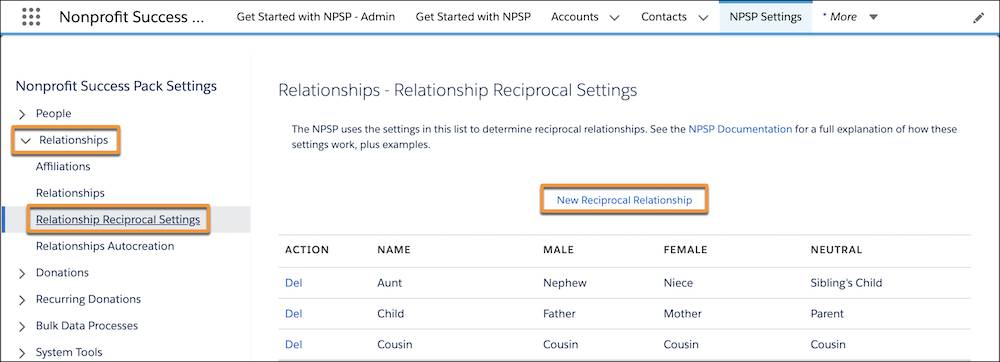 Relationship Reciprocal Settings page