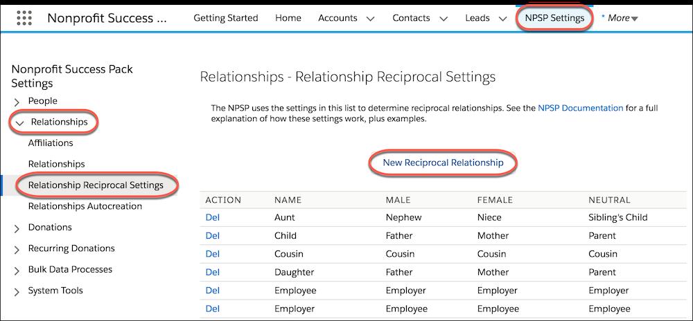 Page Paramètres de relation