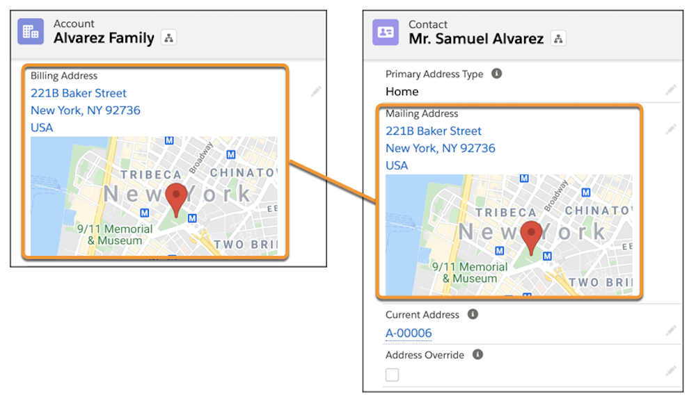 Account details with the Billing Address mapping to the Mailing Address