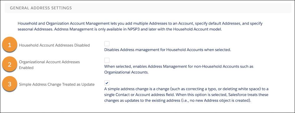 The NPSP General Address Settings page