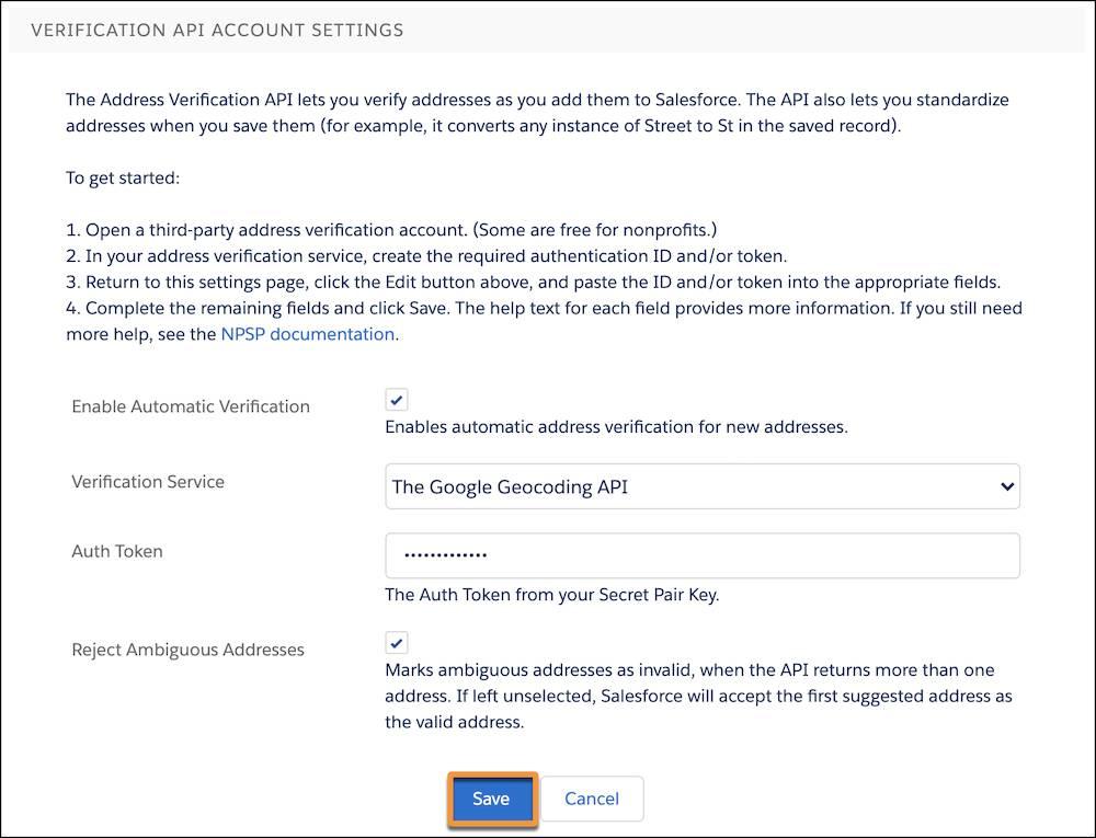Verification API Account Settings menu