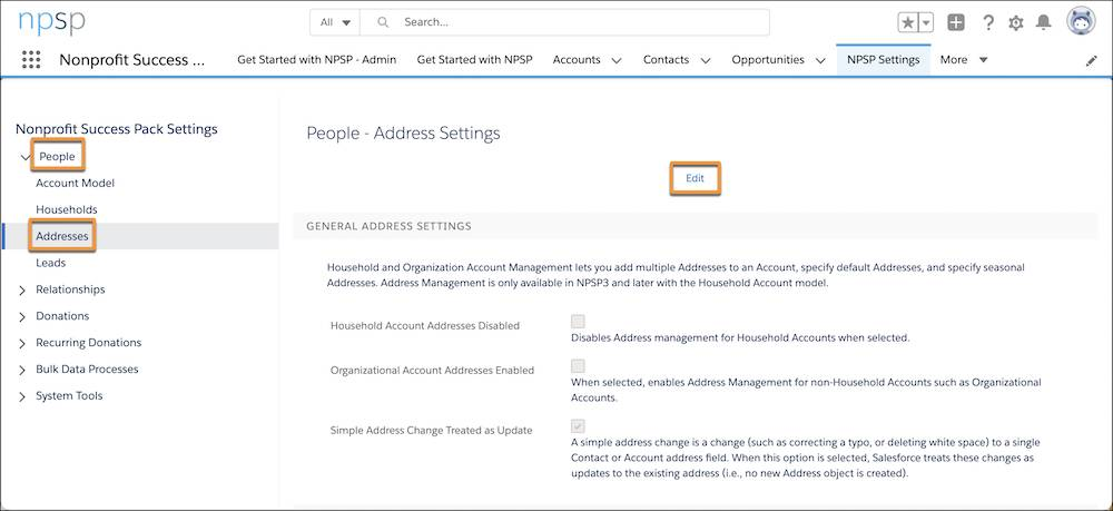 NPSP Settings on the Address Settings page