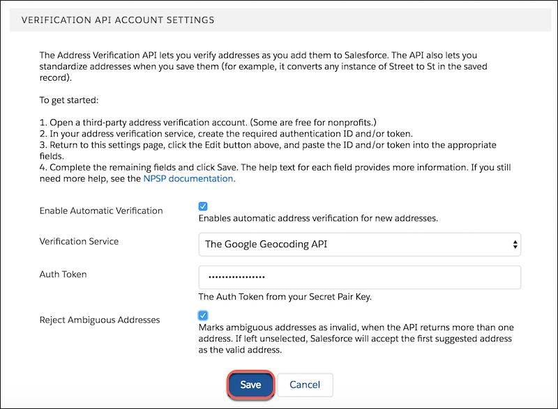 Menu Paramètres de compte d'API de vérification