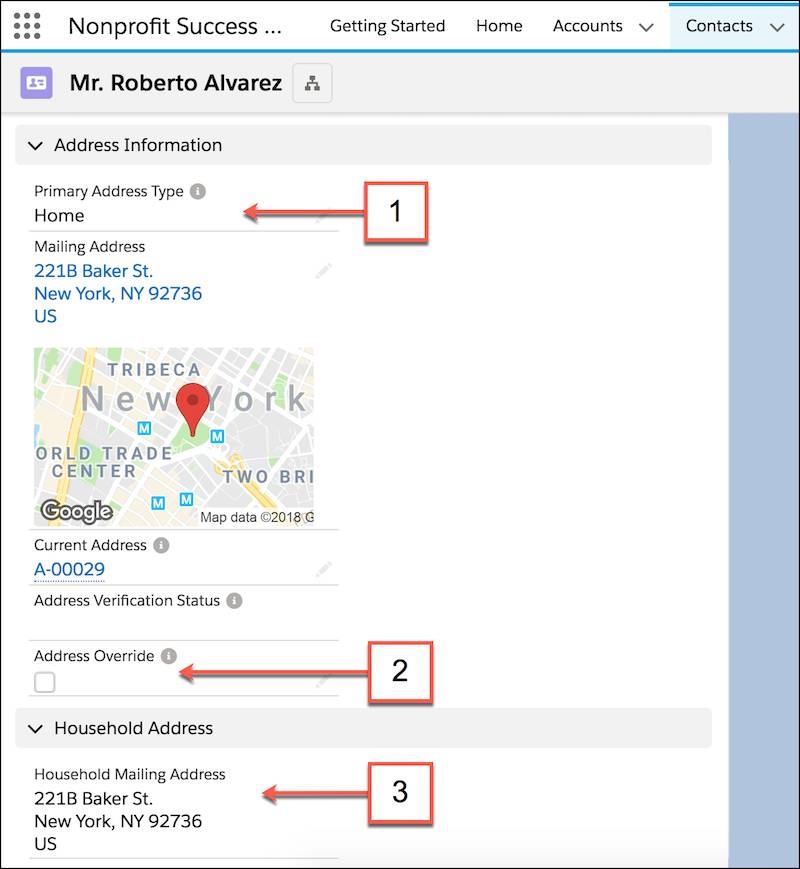 Page de détails du contact, où sont indiqués les champs d'adresse importants.