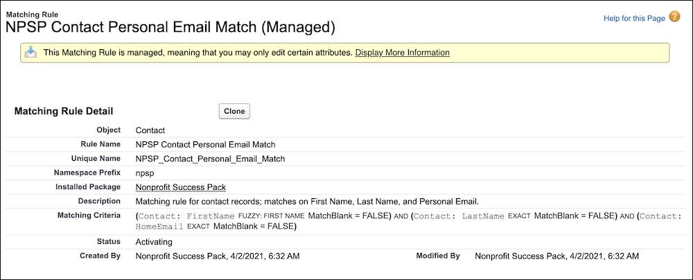 NPSP Contact Personal Email Match Matching Rule