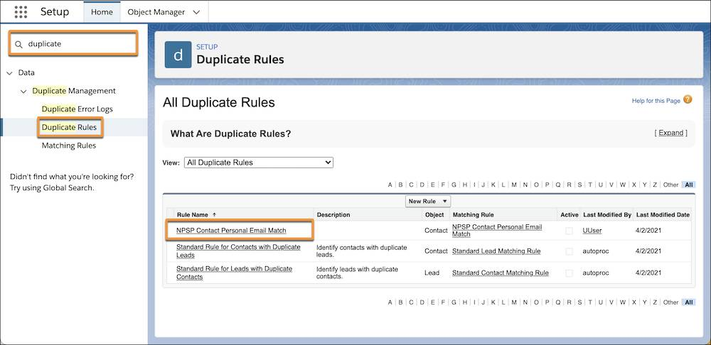 All Duplicate Rules list