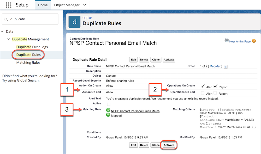 Duplicate rule setting and activation page