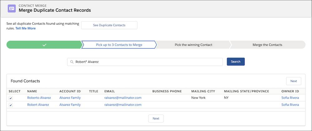 NPSP Contact Merge wizard highlighting list of merged contacts