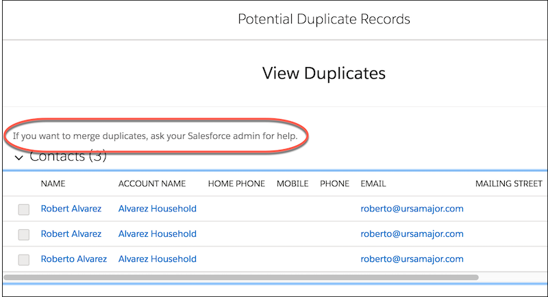 Alert to ask admin for help with potential duplicate records