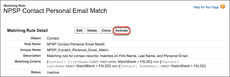 NPSP contact personal email matching rule