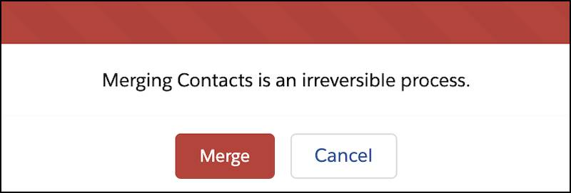 A warning that merging contacts is irreversible