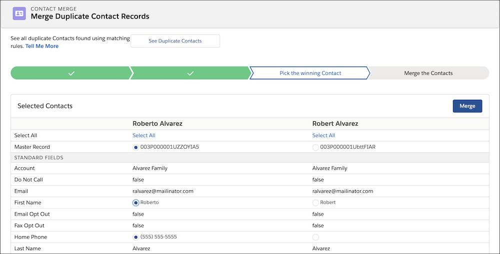 Pick the winning Contact page in the Merge Contacts wizard.