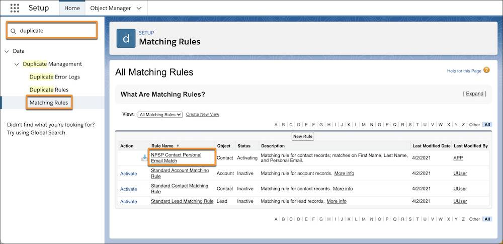 Duplicate Matching Rules settings page
