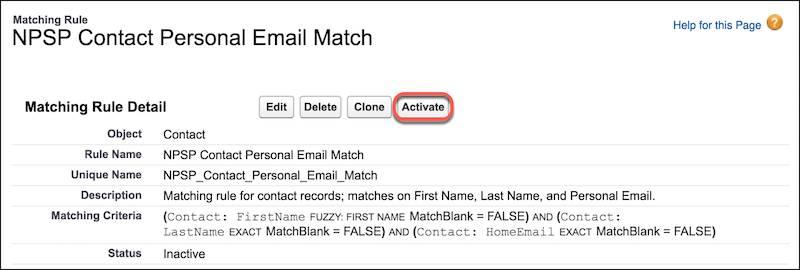 Règle de correspondance des e-mails personnels des contacts de NPSP