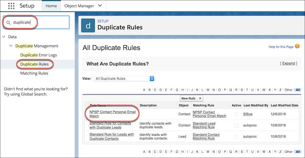 Liste Toutes les règles de duplication