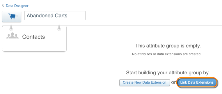 The attribute group creation form with an orange circle around the Link Data Extensions button.