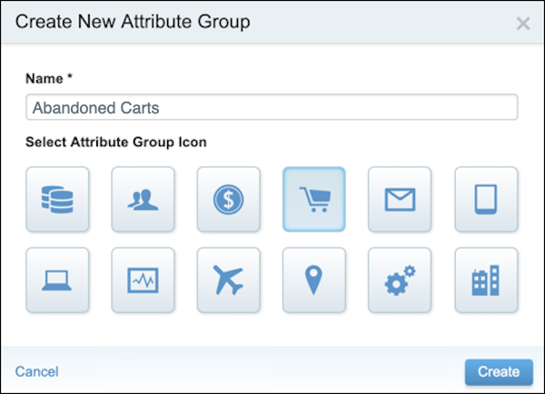 The Create New Attribute Group form.