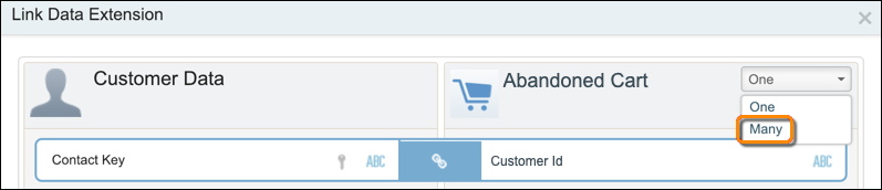 The Link Data Extension form. In the Abandoned Cart cardinality dropdown list, the list entry Many is selected.