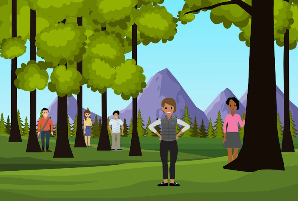 A happy marketer in the woods finds customers as they are no longer hiding behind trees.