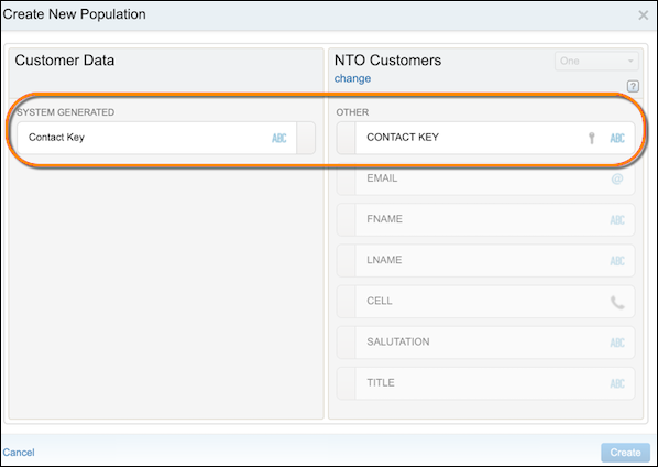 The Create New Population form showing the contact key mapping.