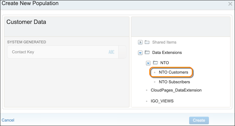 The Create New Population form with the NTO Customers data extension circled.