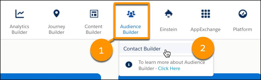 The Audience Builder dropdown navigation menu with the Contact Builder menu item highlighted.
