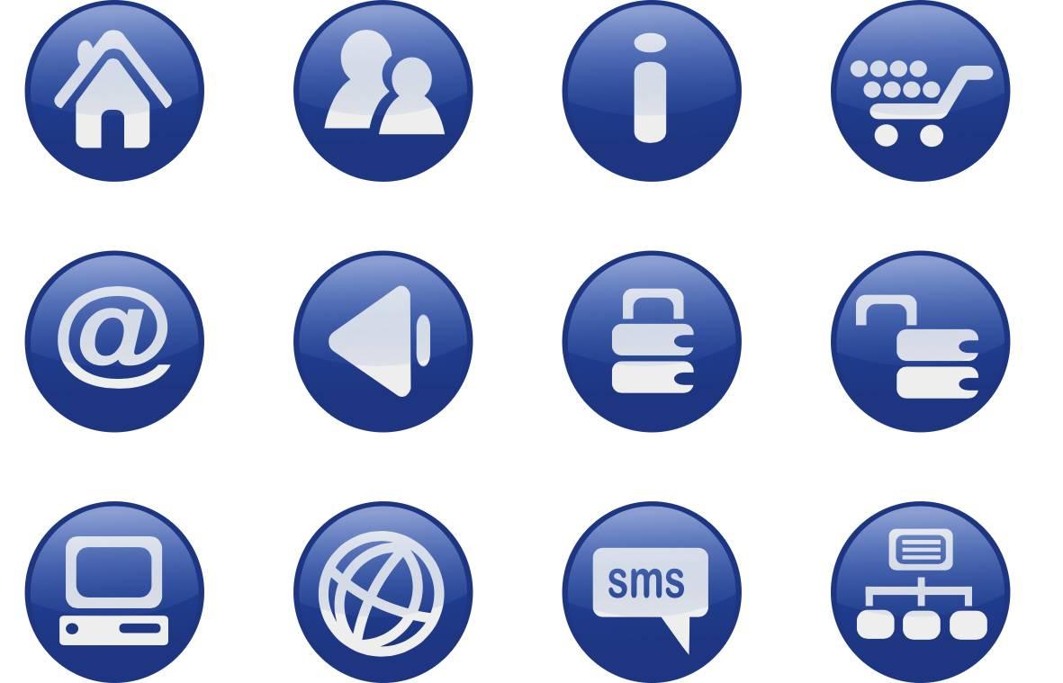 Anschauliches Bild mit Symbolen für Kommunikationsarten