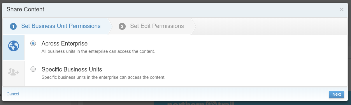 Share Content settings